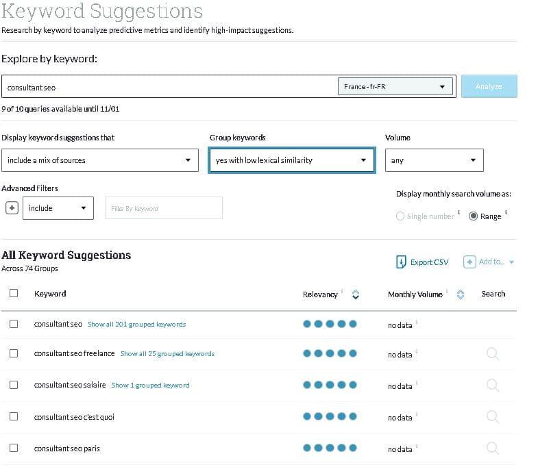Recherche mot-clé avec Moz Keyword Explorer